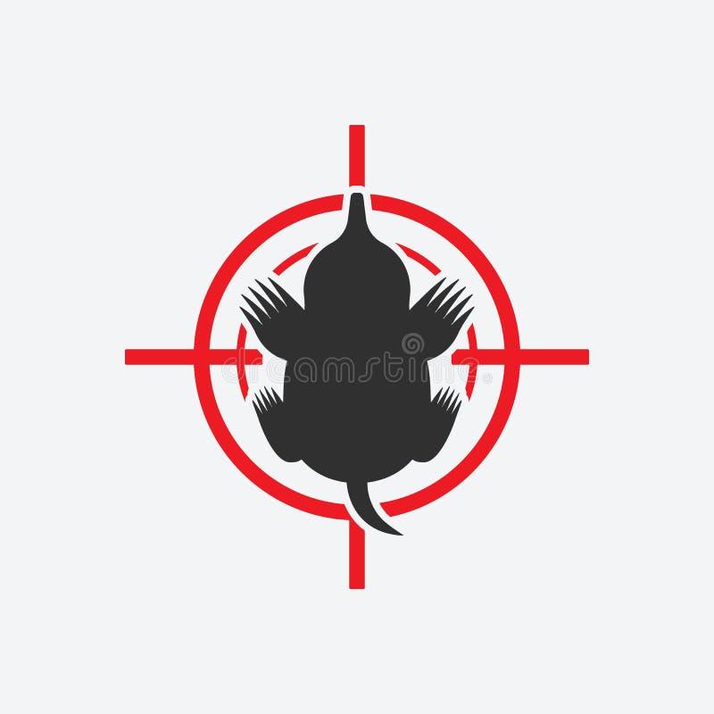 Silhueta da toupeira Alvo vermelho do ícone animal da praga ilustração stock