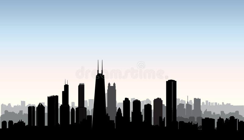 Silhueta das construções da cidade de Chicago Paisagem urbana dos EUA Arquitectura da cidade americana ilustração royalty free