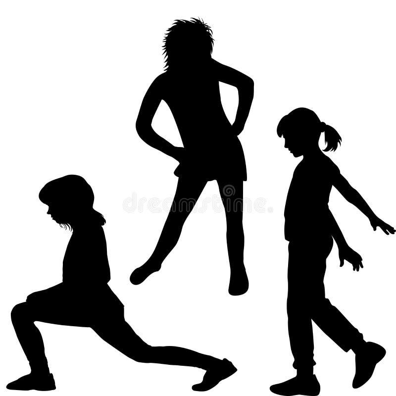 Silhueta das crianças que fazem exercícios ilustração do vetor