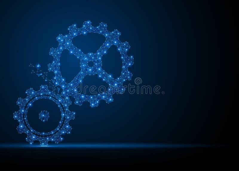 Silhueta das engrenagens da tecnologia ilustração royalty free