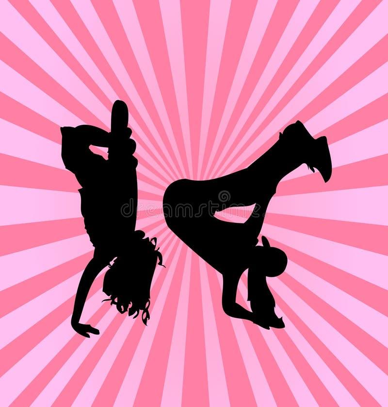 Silhueta das meninas de dança do lúpulo do quadril ilustração do vetor