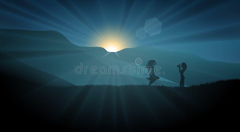 Silhueta das meninas que dispara em uma foto no por do sol em um campo ilustração stock