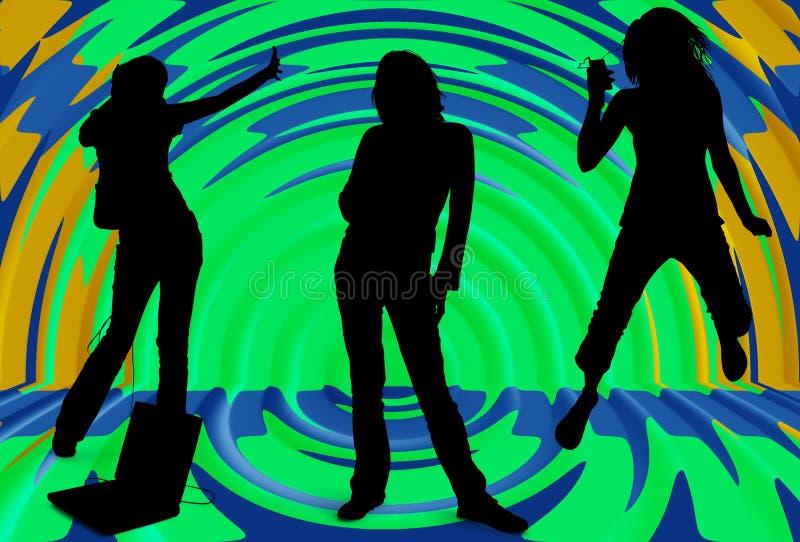 Silhueta das meninas que escutam a música imagem de stock