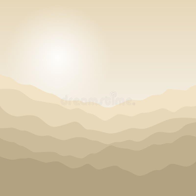 Silhueta das montanhas no nascer do sol ilustração do vetor