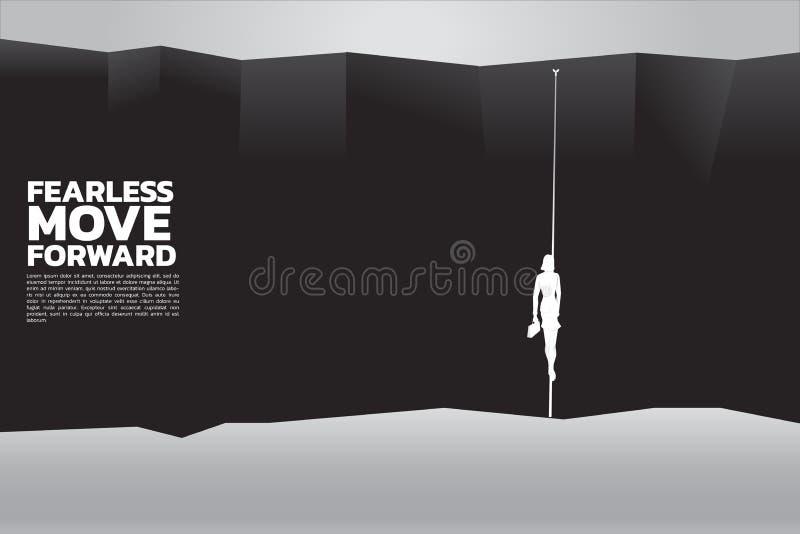 Silhueta das mulheres de negócios com pasta que andam na corda para cruzar o abismo ilustração do vetor