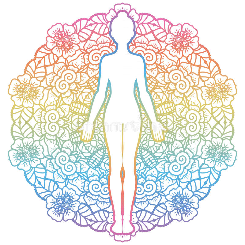 Silhueta das mulheres Pose da montanha da ioga Tadasana ilustração do vetor