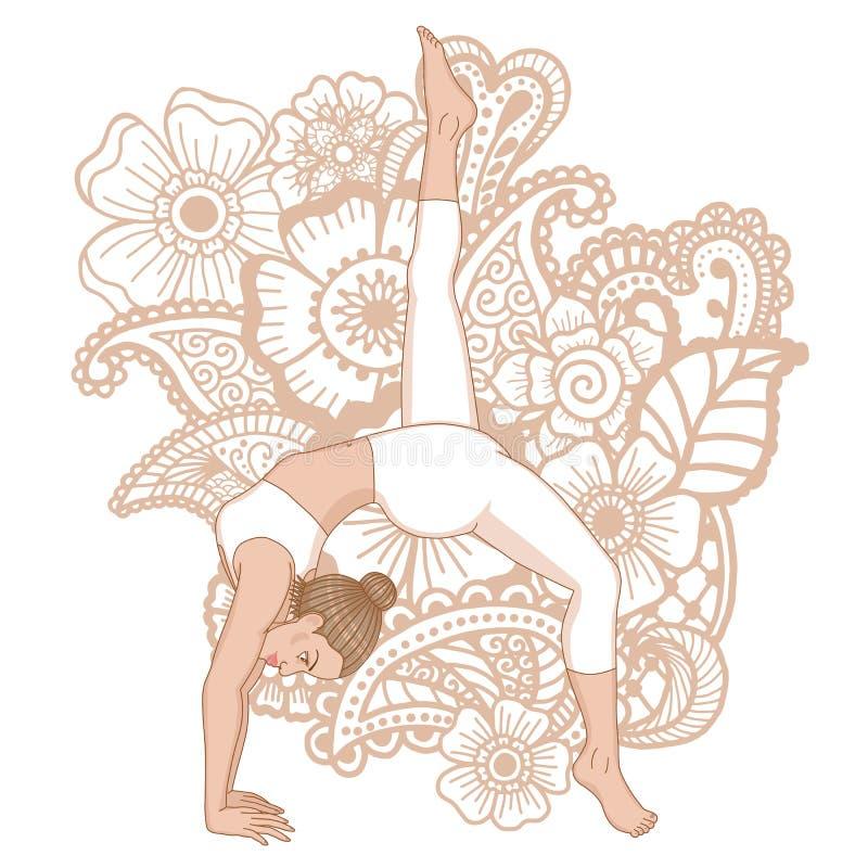 Silhueta das mulheres Um descendente equipado com pernas - enfrentando a pose da ioga do cão Eka Pada Adho Mukha Svanasa ilustração royalty free