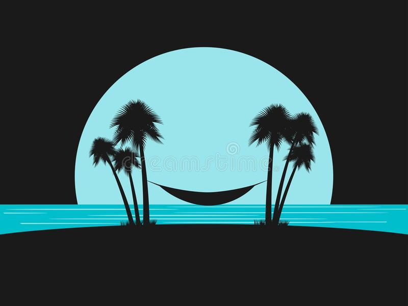 Silhueta das palmas com uma rede na praia Encalhe férias Lazer do molde do projeto, turismo Vetor ilustração royalty free