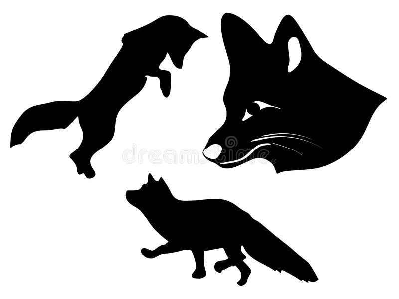 Silhueta das raposas ilustração do vetor