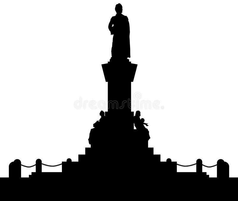 Silhueta de Adam Mickiewicz Monument, ³ w de Krakà Símbolo e poeta poland ilustração stock