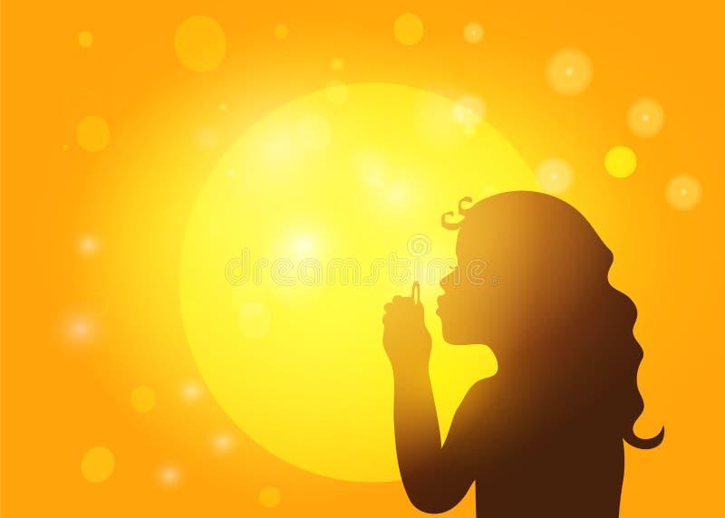 Silhueta de bolhas de sabão de sopro da menina ilustração royalty free