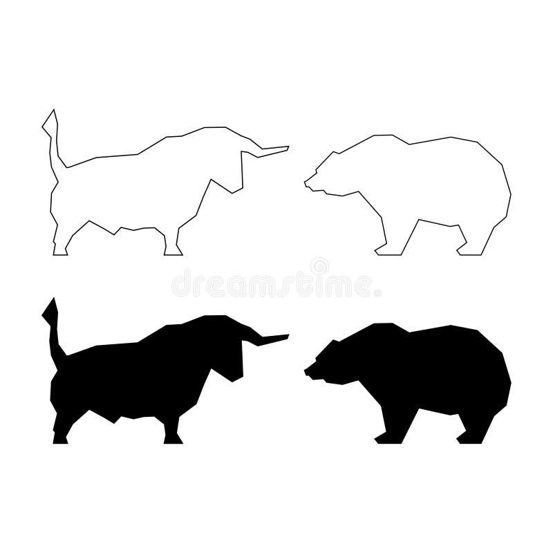 Silhueta de Bull e de urso ilustração do vetor
