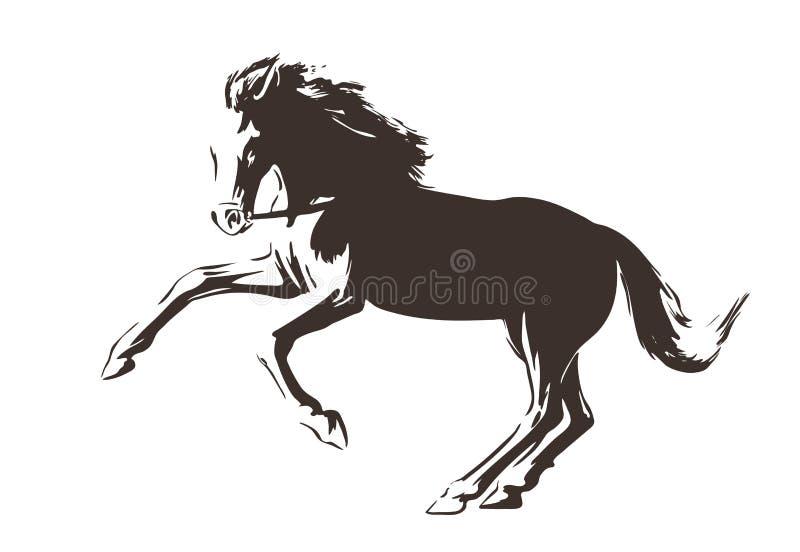 Silhueta de cavalo running pintada pela tinta ilustração tirada mão do vetor no fundo branco Estilo do esboço isolado ilustração royalty free