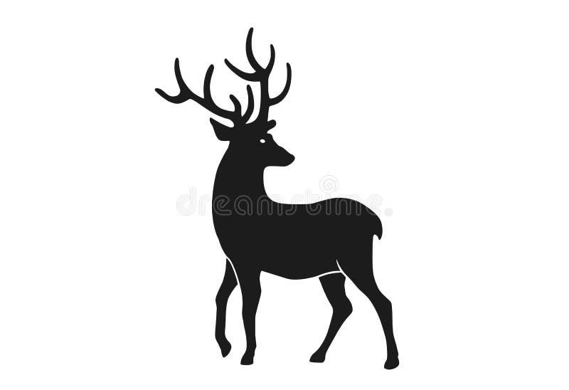 Silhueta de cervo Elemento de projeto de Natal Símbolo de Natal ilustração stock