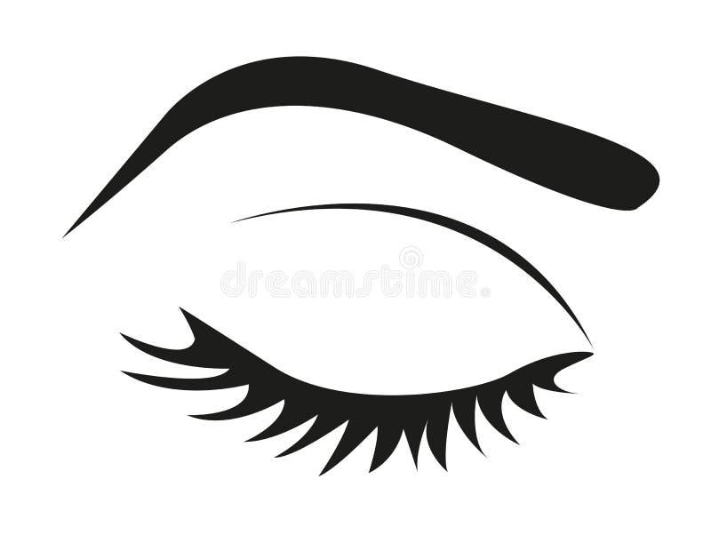 Silhueta de chicotes e de sobrancelha do olho ilustração royalty free