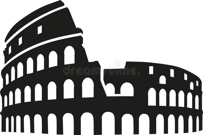 Silhueta de Colosseum Roma ilustração do vetor