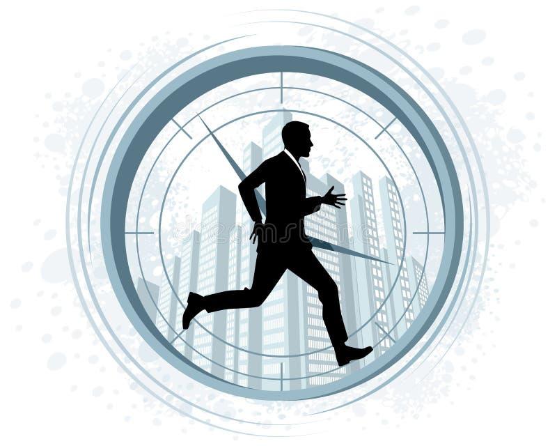 Silhueta de corrida do homem de negócios ilustração do vetor