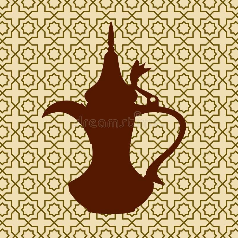 Silhueta de Dallah no fundo modelado ilustração stock