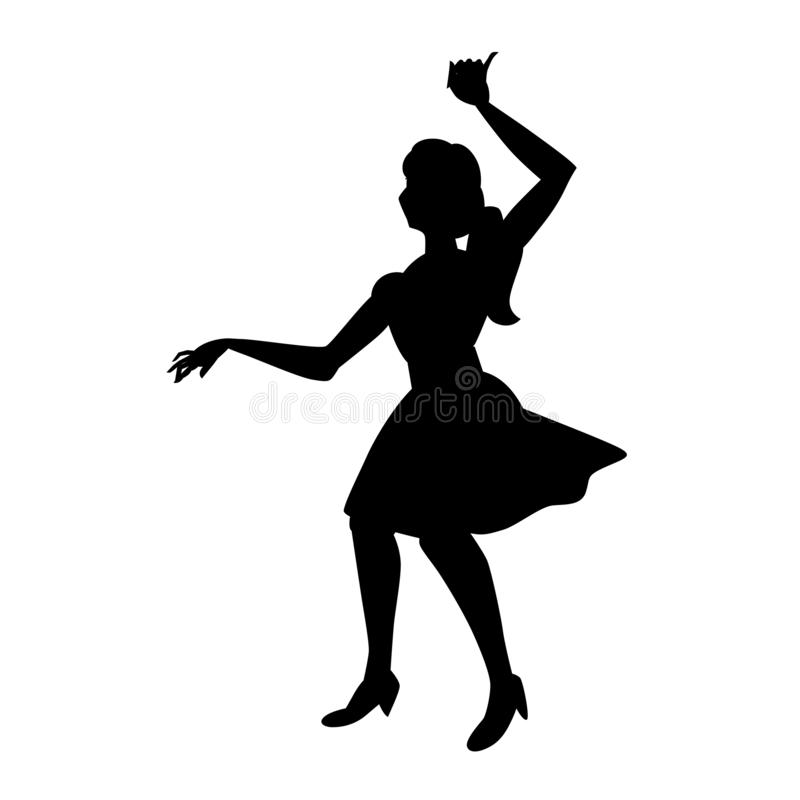 Silhueta de danças bonitas da menina Para o cartaz, inseto, estúdio das danças, loja da forma da mulher Ilustra??o preta do vetor ilustração do vetor