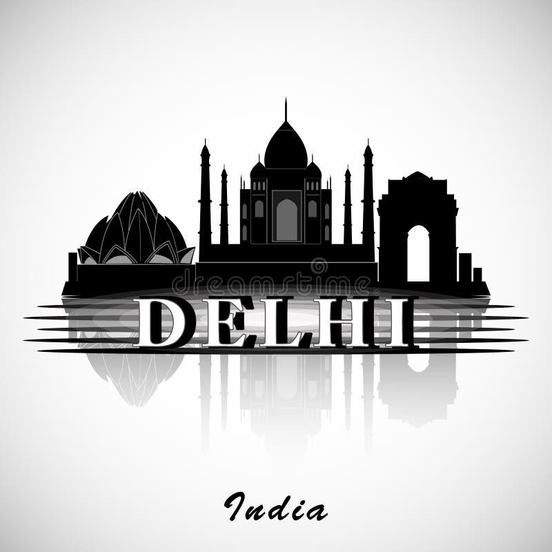 Silhueta de Deli, Índia Skyline da cidade ilustração stock