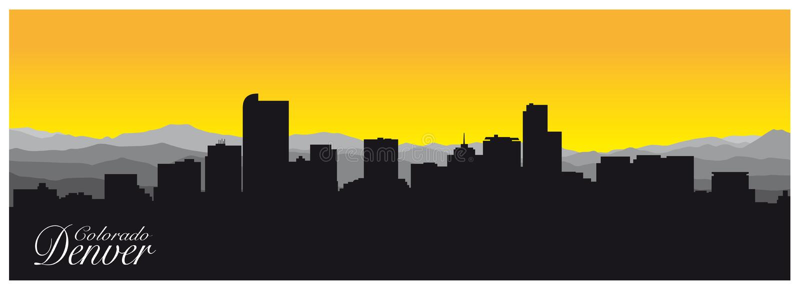 Silhueta de Denver a capital de Colorado ilustração royalty free