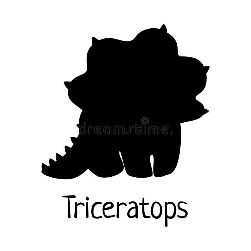 Silhueta de Dino do bebê do vetor - triceratops - para o logotipo, cartaz, bandeira Para o evento histórico, convite do partido d ilustração do vetor