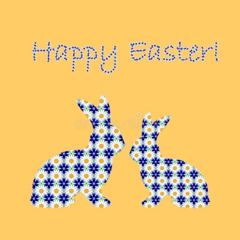 A silhueta de dois coelhos de coelhinho da Páscoa decorou w ilustração do vetor