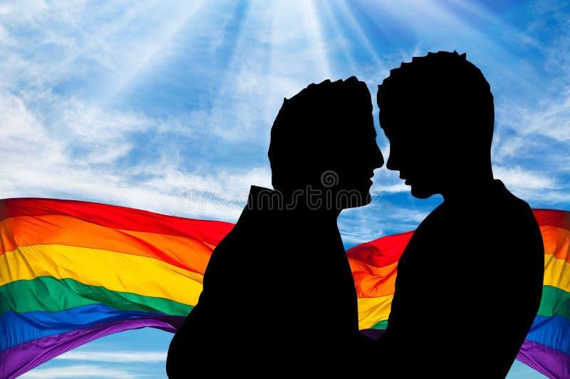 Silhueta de dois homem gay foto de stock royalty free