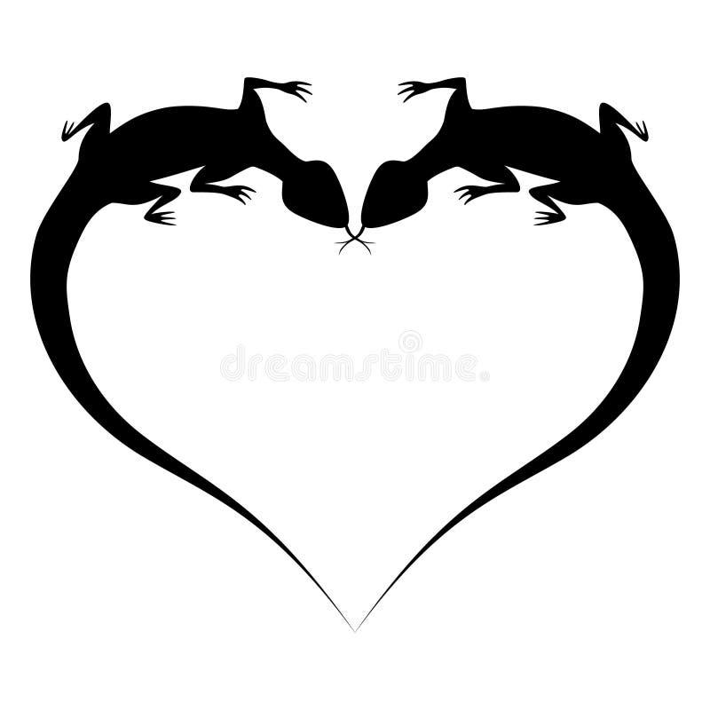 A silhueta de dois lagartos na forma do Valentim no branco ilustração stock
