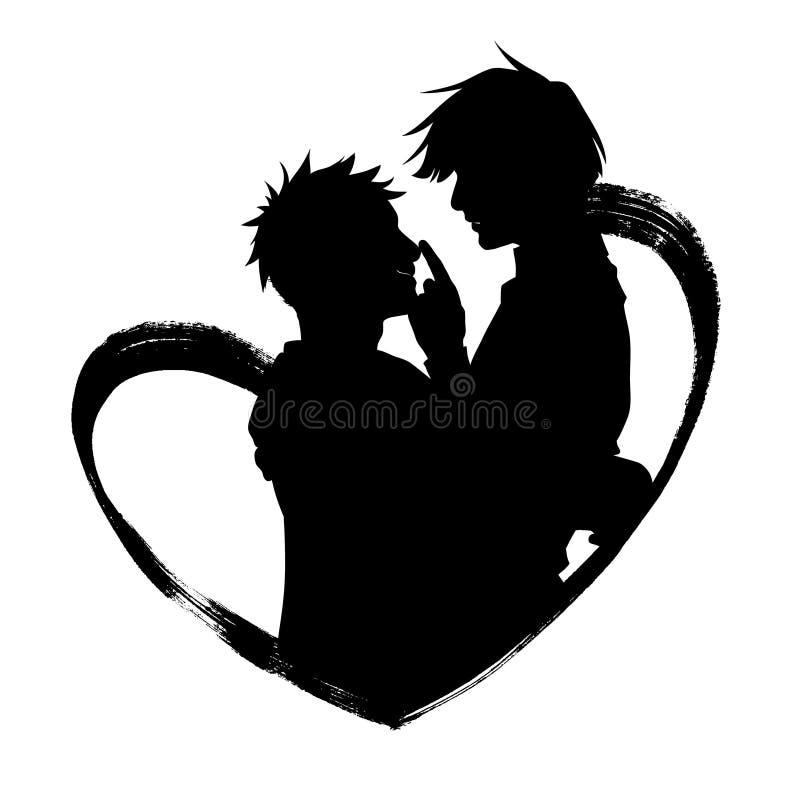 Silhueta de dois povos que abraçam dentro do coração ilustração stock