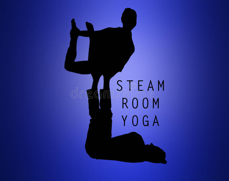 A silhueta de dois povos que fazem a ioga exercita imagens de stock royalty free