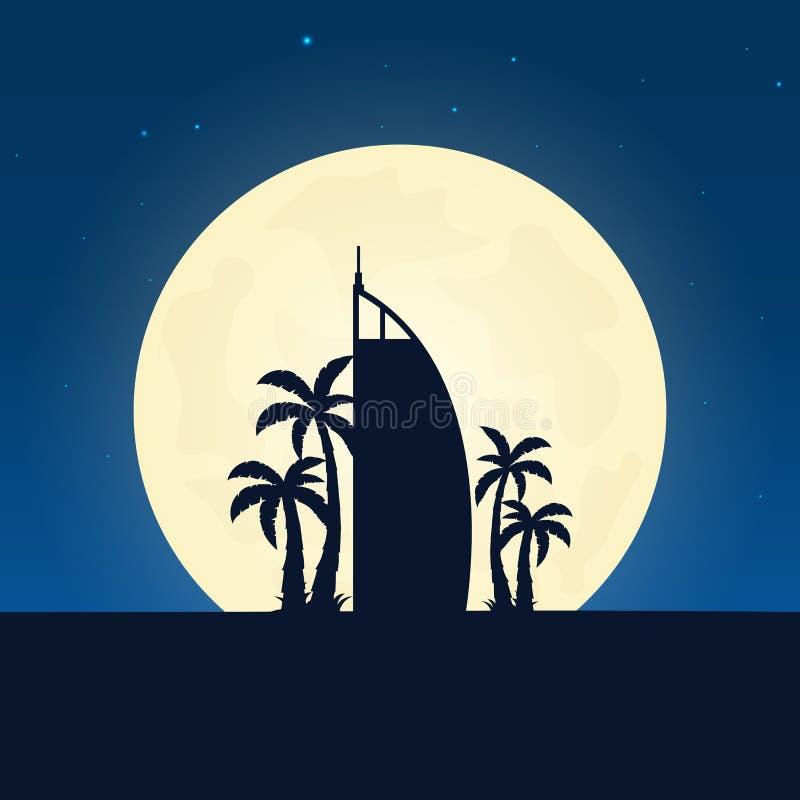 Silhueta de Dubai da atração Bandeira do curso com a lua no fundo da noite Viagem ao país Ilustração de viagem ilustração do vetor