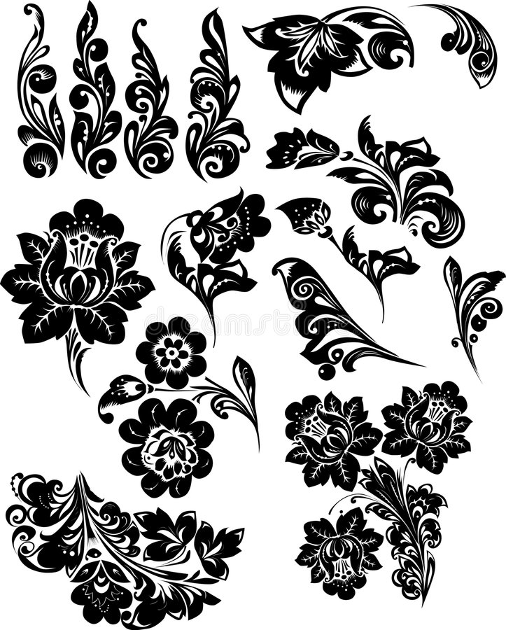Silhueta de elementos da flor ilustração royalty free