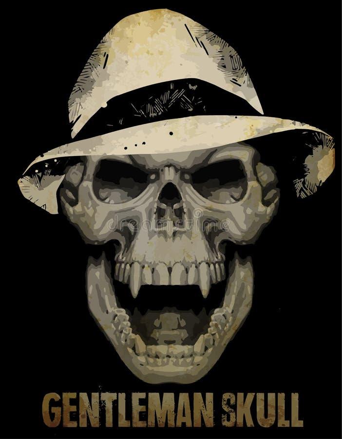 Silhueta de esqueleto do cavalheiro no terno do smoking, mão tirada, vetor ilustração stock