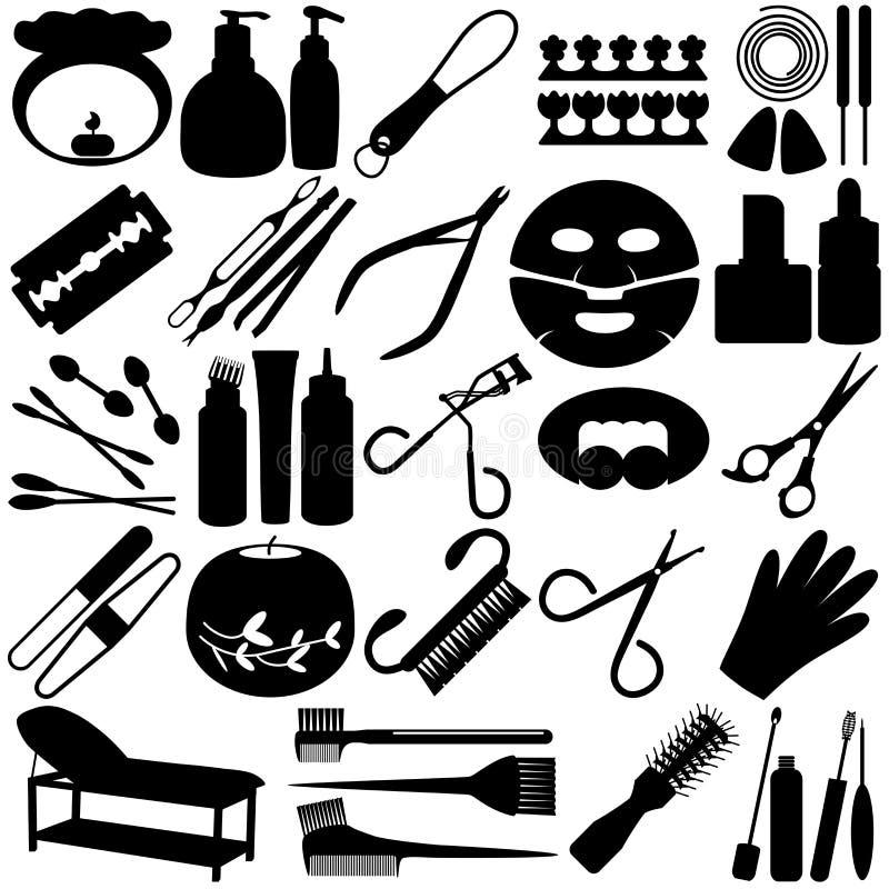 Silhueta de ferramentas da beleza, ícones dos termas, cosméticos ilustração royalty free