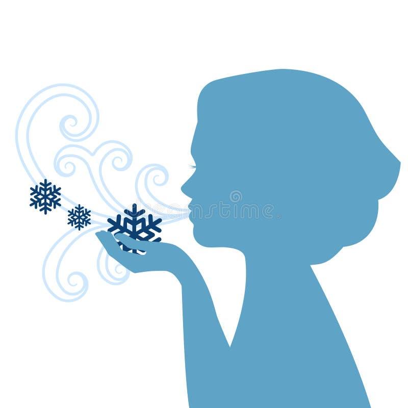 Silhueta de flocos de neve de sopro da mulher ilustração royalty free