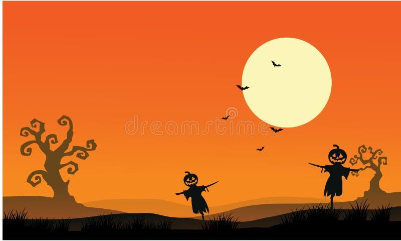 Silhueta de fundos do Dia das Bruxas do espantalho ilustração stock
