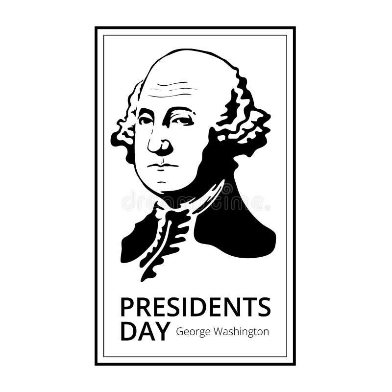 Silhueta de George Washington aos presidentes felizes Dia - feriado americano nacional Ilustração do vetor isolada no fundo branc ilustração do vetor