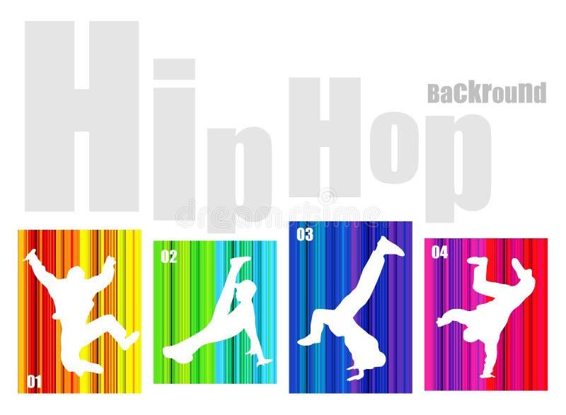 Silhueta de hip-hop do vetor no fundo abstrato ilustração stock
