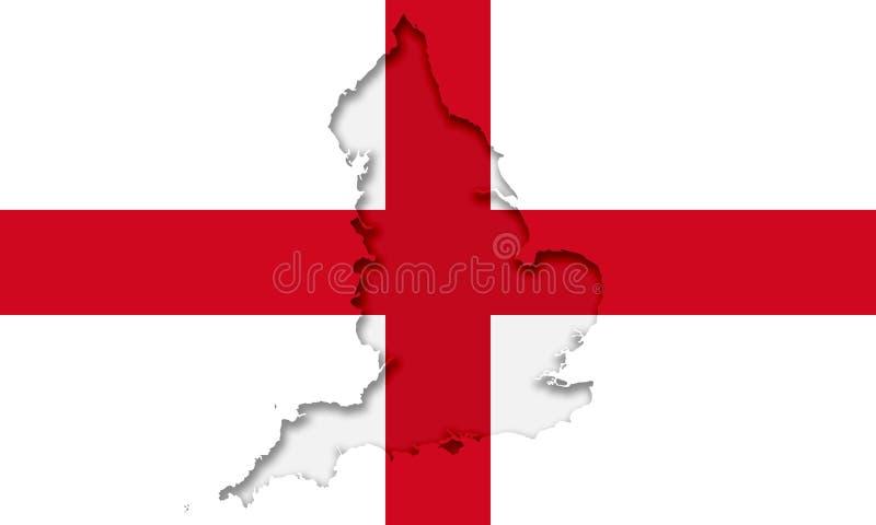 Silhueta de Inglaterra na bandeira civil e do estado ilustração royalty free