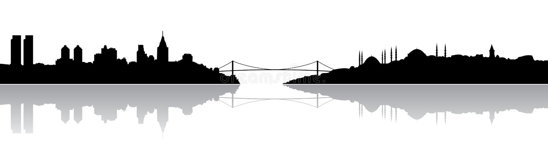 Silhueta de Istambul ilustração royalty free