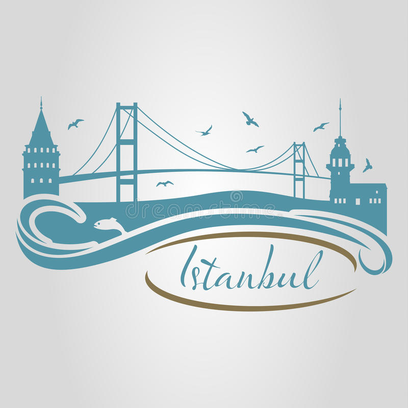 Silhueta de Istambul ilustração stock
