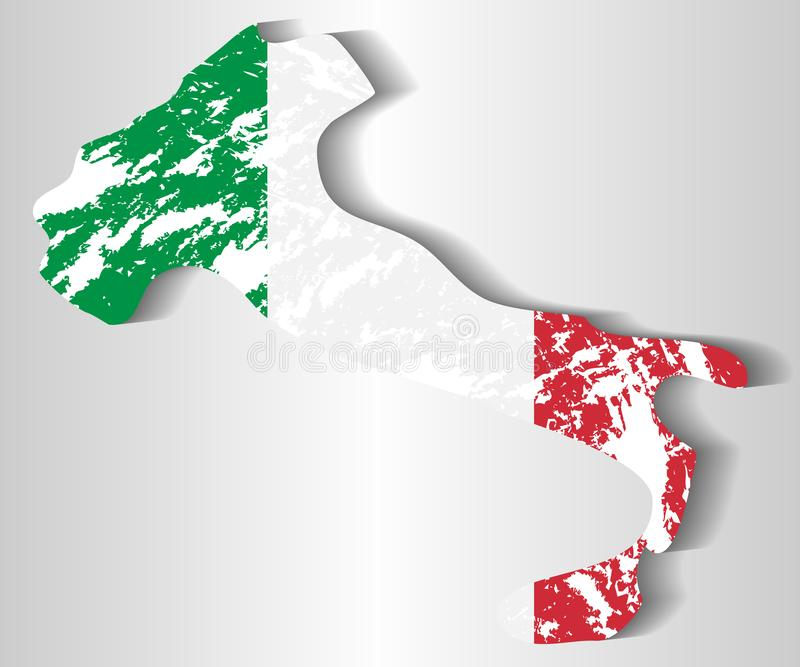 Silhueta de Itália contra a bandeira italiana ilustração royalty free