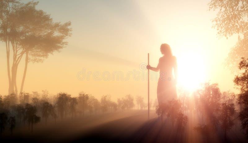 Silhueta de Jesus ilustração royalty free