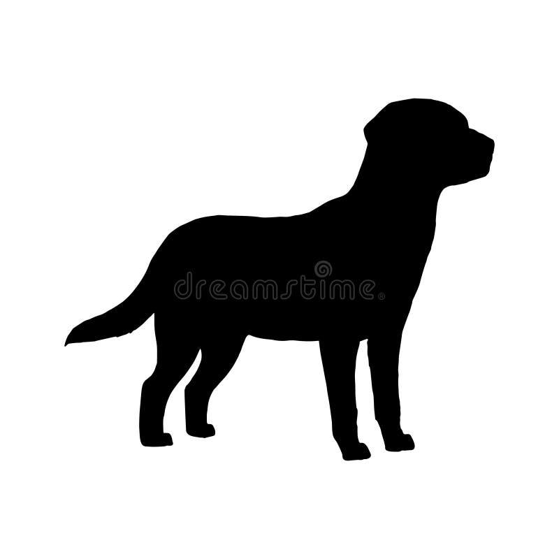 Silhueta de Labrador do cão Ícone branco preto Ilustração do vetor ilustração stock