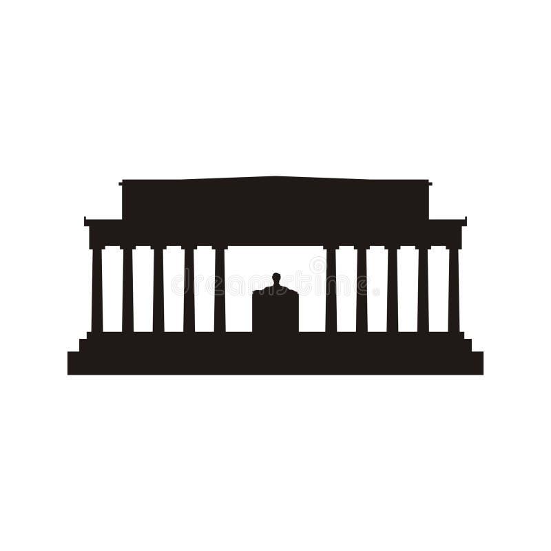Silhueta de Lincoln Memorial ilustração stock