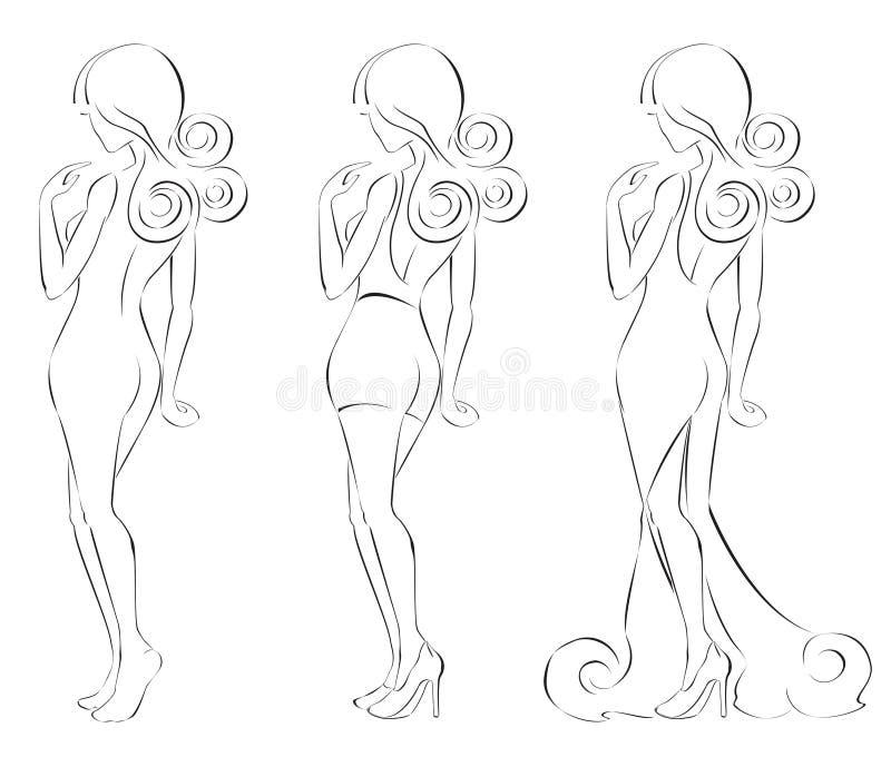 Silhueta de linhas bonitas de uma mulher in fine ilustração royalty free