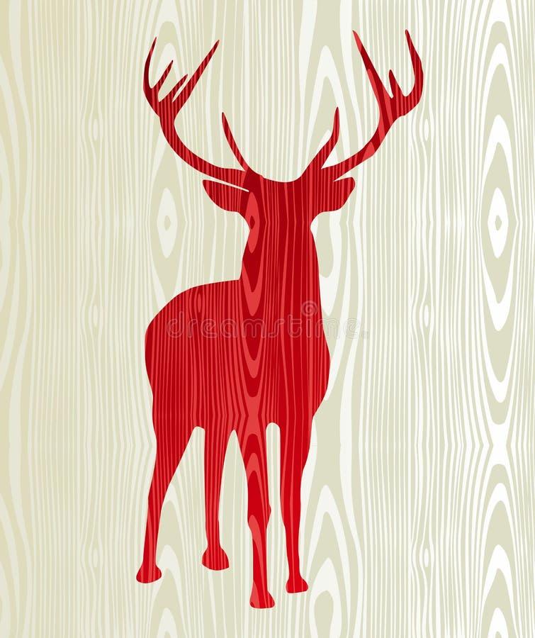 Silhueta de madeira da rena do Natal ilustração stock