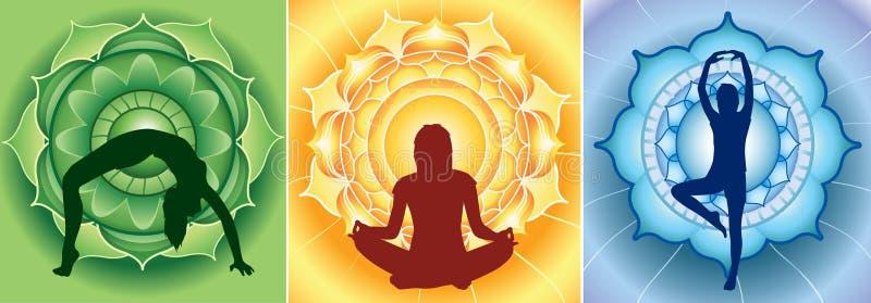 Silhueta de meninas da ioga na mandala brilhante ilustração stock