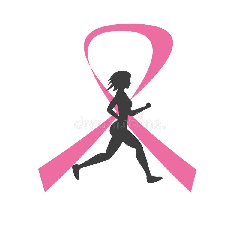 Silhueta de mulher running e da fita cor-de-rosa ilustração do vetor